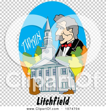 Clipart Mark Twain Over The First Congregational Church In.