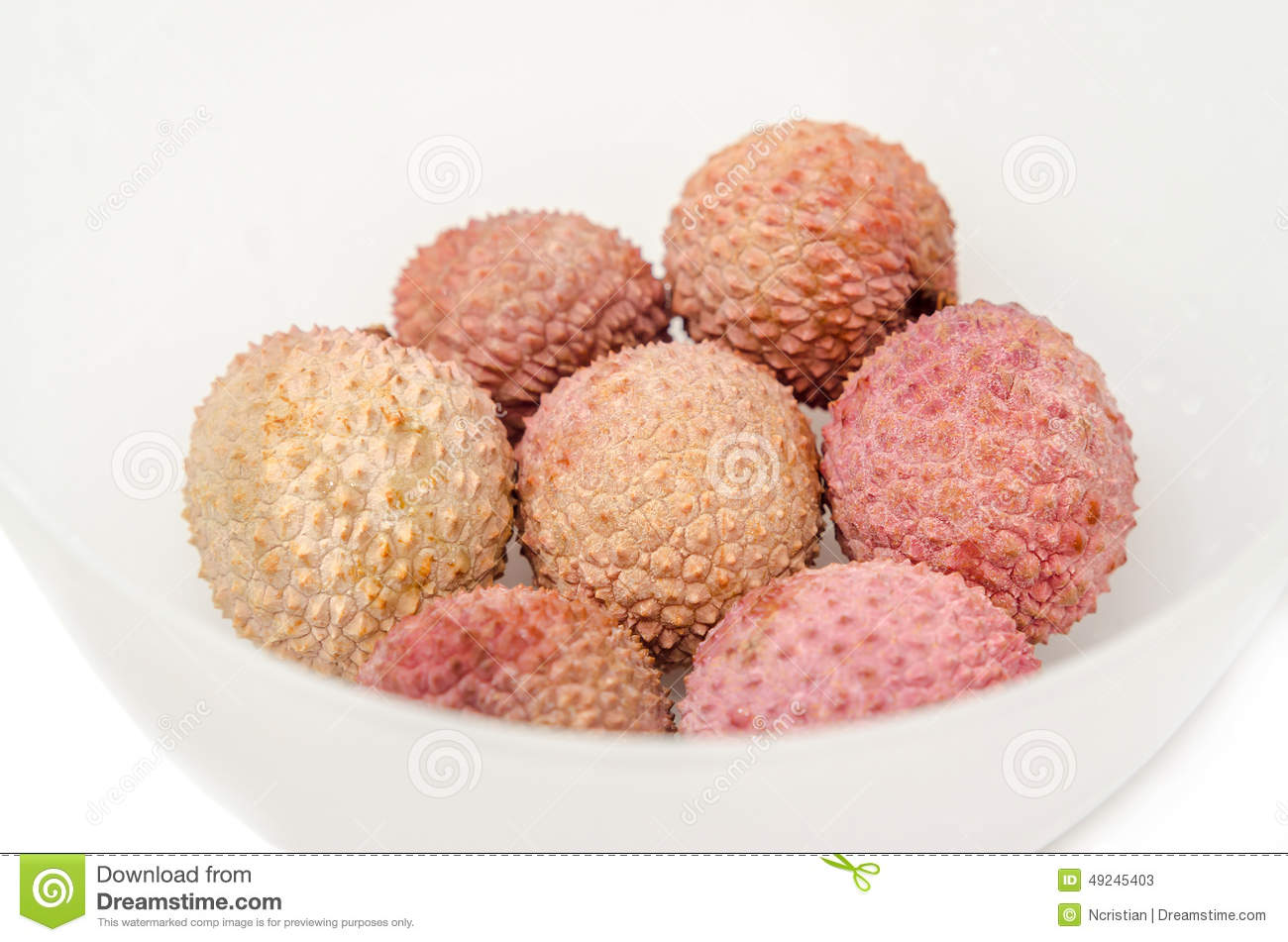 The Lychee (Litchi Chinensis) Fruits In A Transparent Bowl, Close.