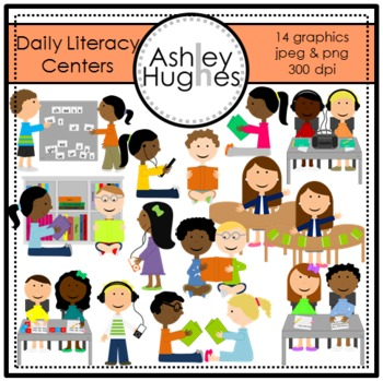 Daily Literacy Centers Clipart {A Hughes Design}.