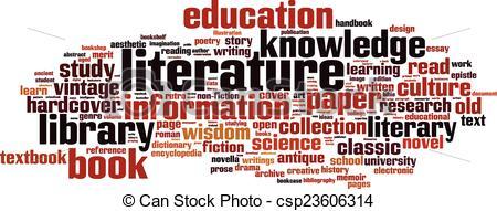 Vector Clip Art of Literature word cloud concept. Vector.