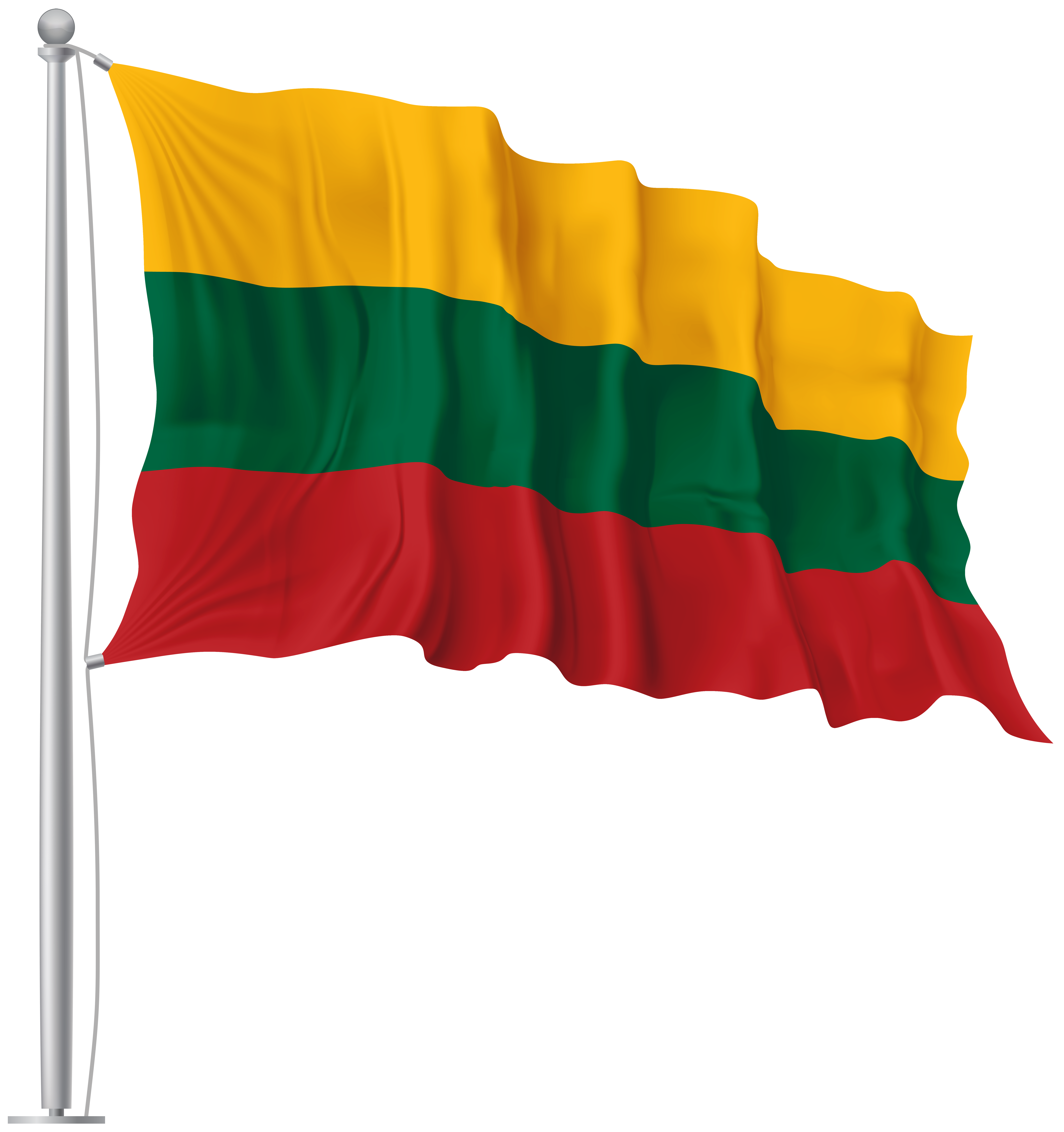 Lithuania Waving Flag PNG Image.