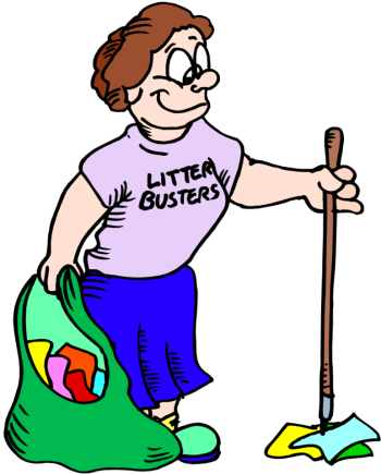 Picking up litter clipart.