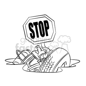 stop littering black and white clipart. Royalty.