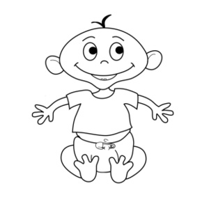 Little Baby Girl Clipart Black And White Clipground