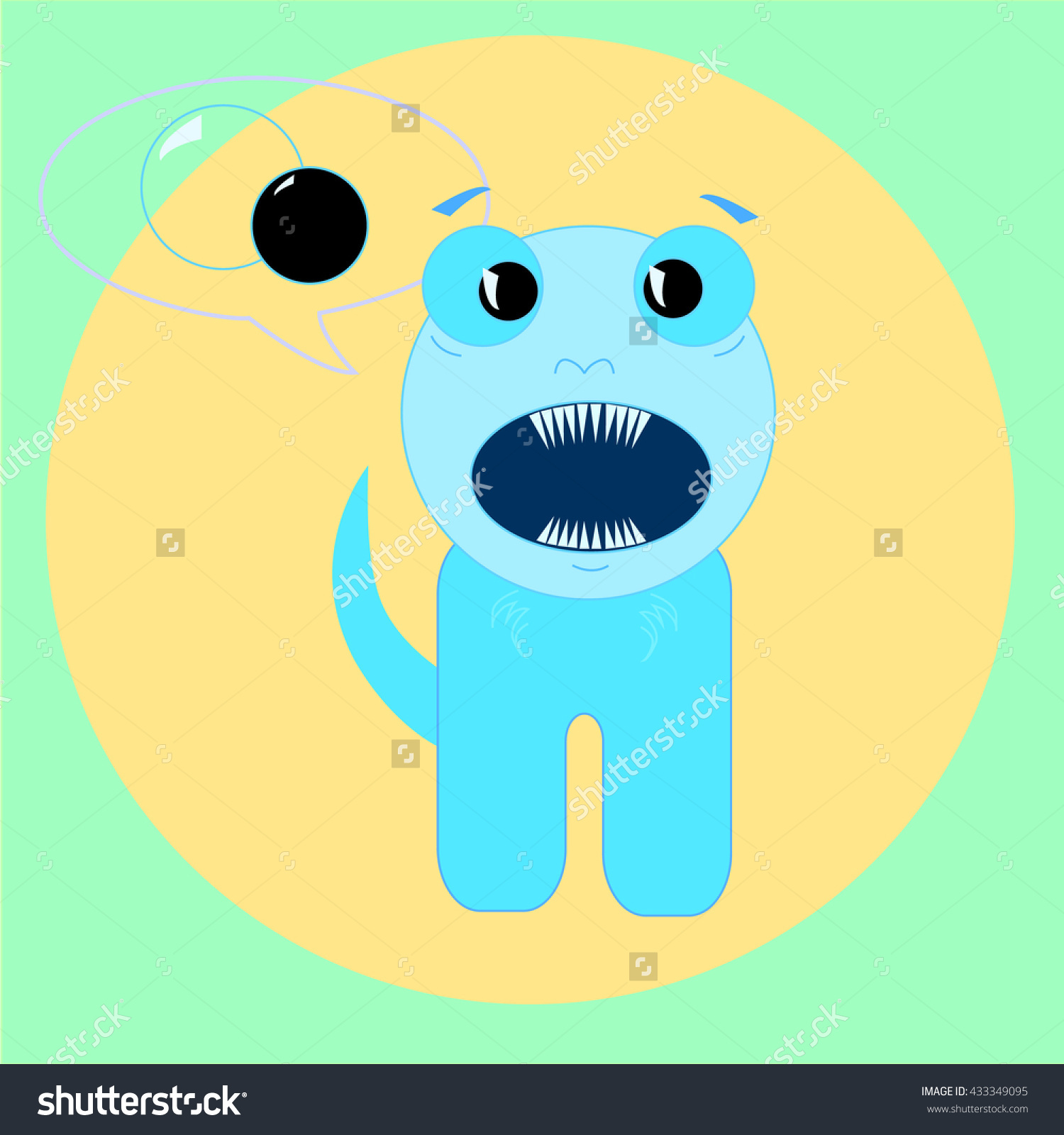 Surprised Little Beast, Cute Monster, Vector Illustration.