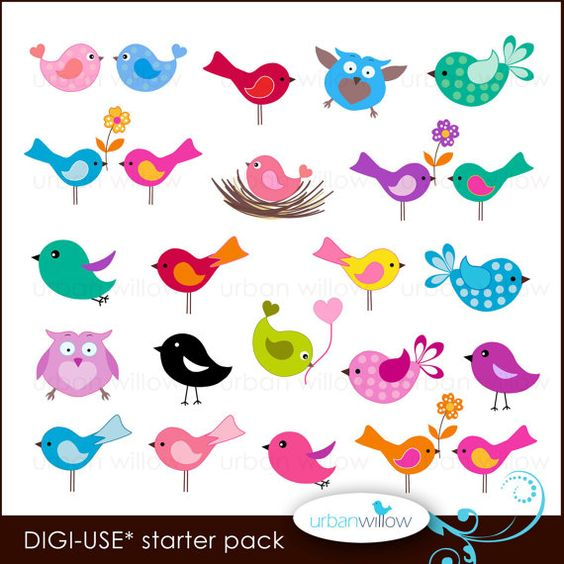 20 LITTLE BIRDS. Digital clip art collection, in Jpeg and Png.