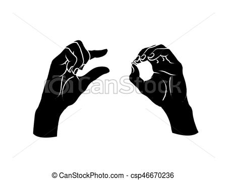 Gesture. A little bit sign. Two female hands showing a few of something.  Vector..