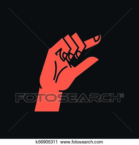 Gesture. Zero. A little bit sign. Stylized hand with index and thumb making  circle. Icon. Vector. Clipart.