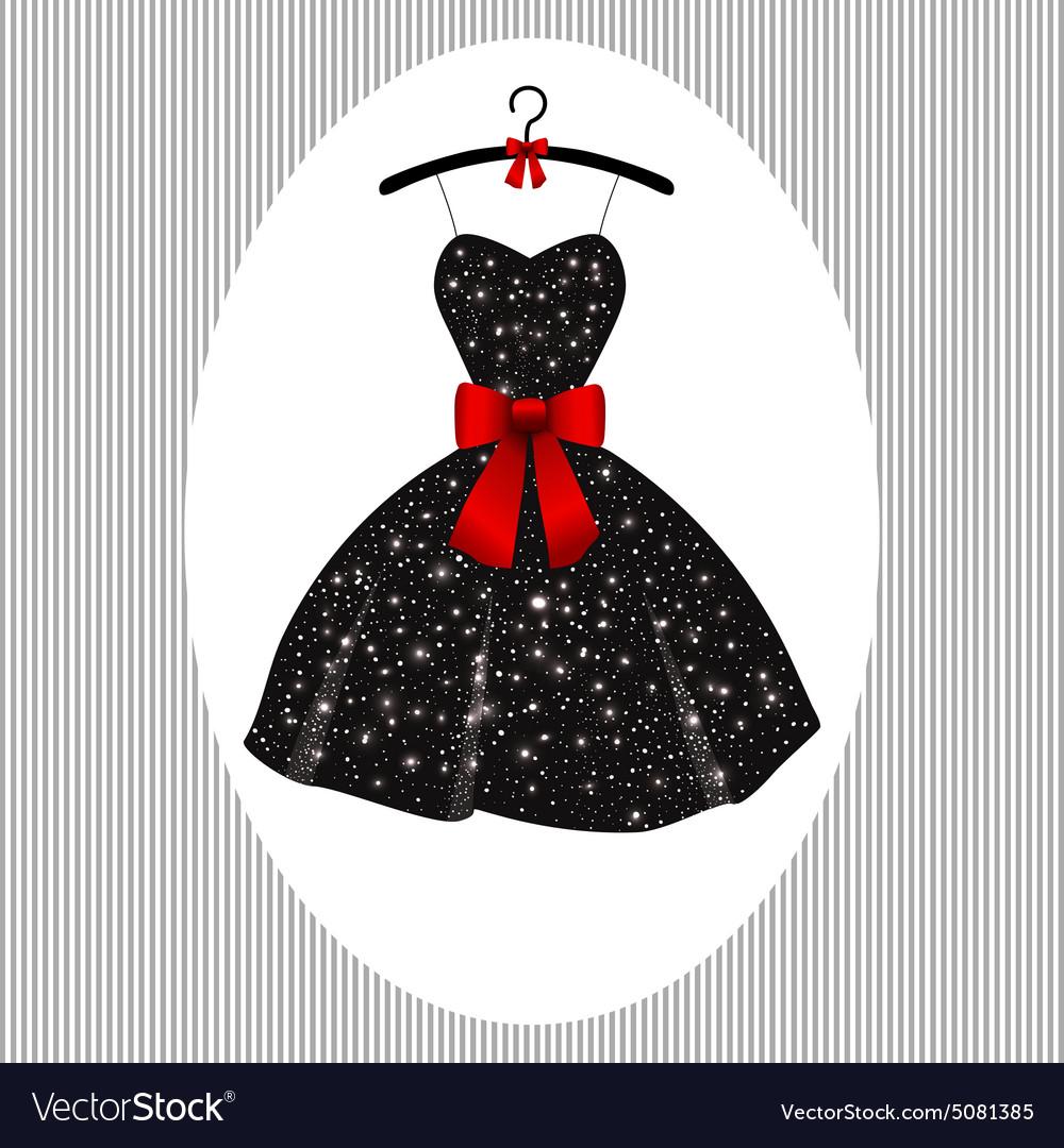 Little black dress on a hanger.