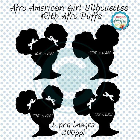 Little Girl Silhouettes African American by CheriesArtsnCrafts.
