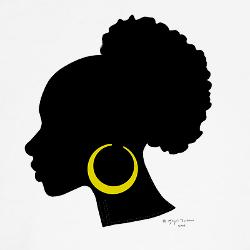 Afro puff silhouette.