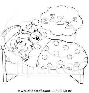 Line Art of Little Girl Napping Free Clip Art, Sleeping in Bed.