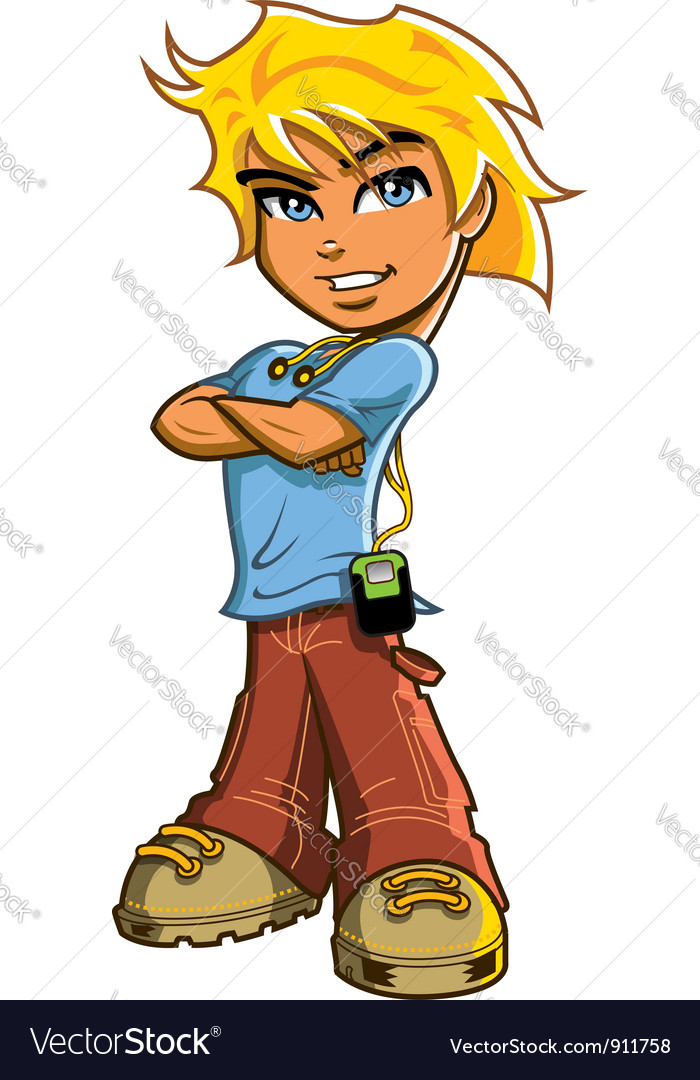 Blonde Boy With Headphones Royalty Free Vector Image.