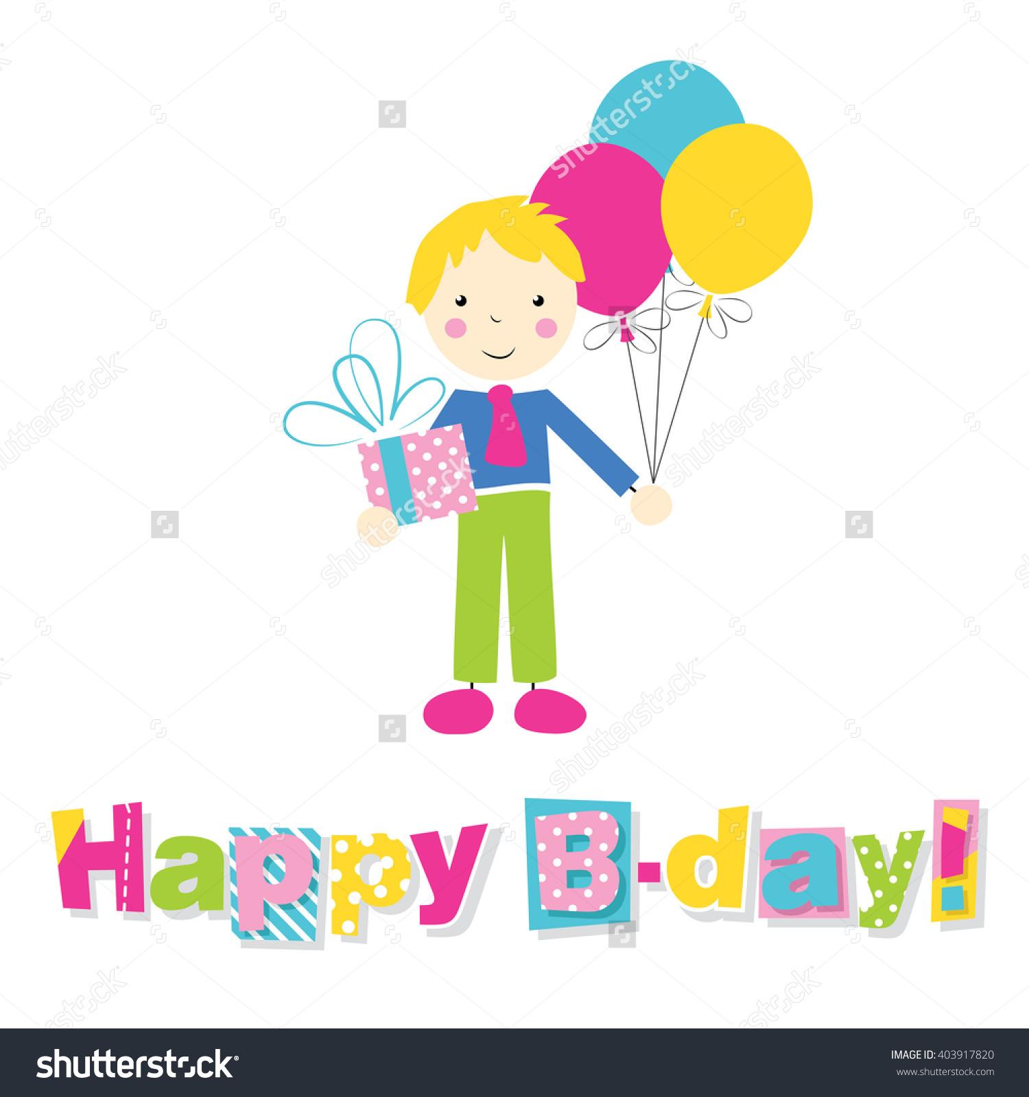 Little Blonde Boy Holding Birthday Present Stock Illustration.