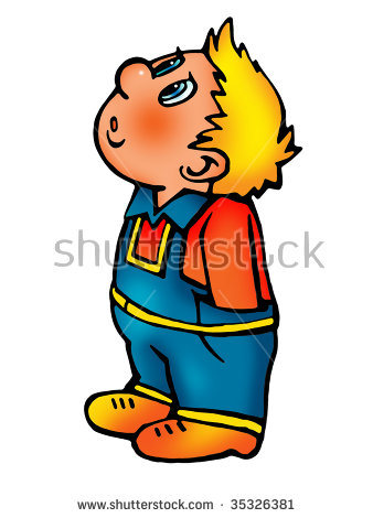 Curious Little Blonde Boy Looks Up Stock Illustration 35326381.