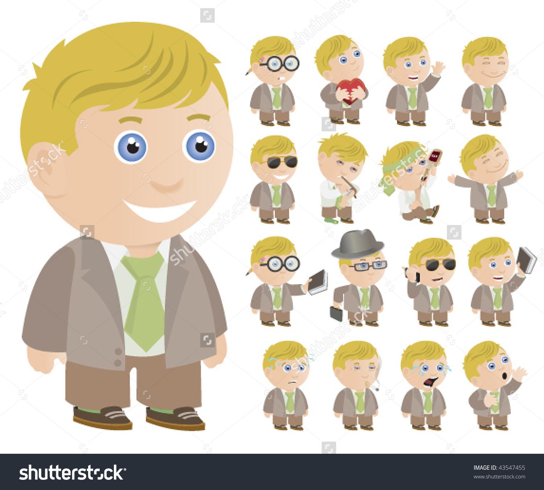 Little Blonde Boy Multiple Poses Vector Stock Vector 43547455.