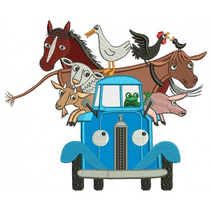 Truck with Animals Applique Machine Embroidery Digitized.