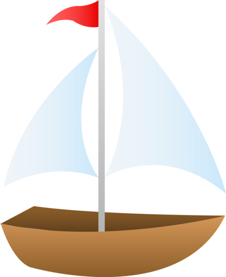 Free clip art of a cute small sailboat.