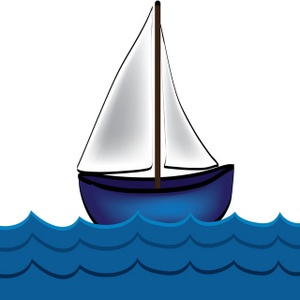 Little boat in the water clipart.