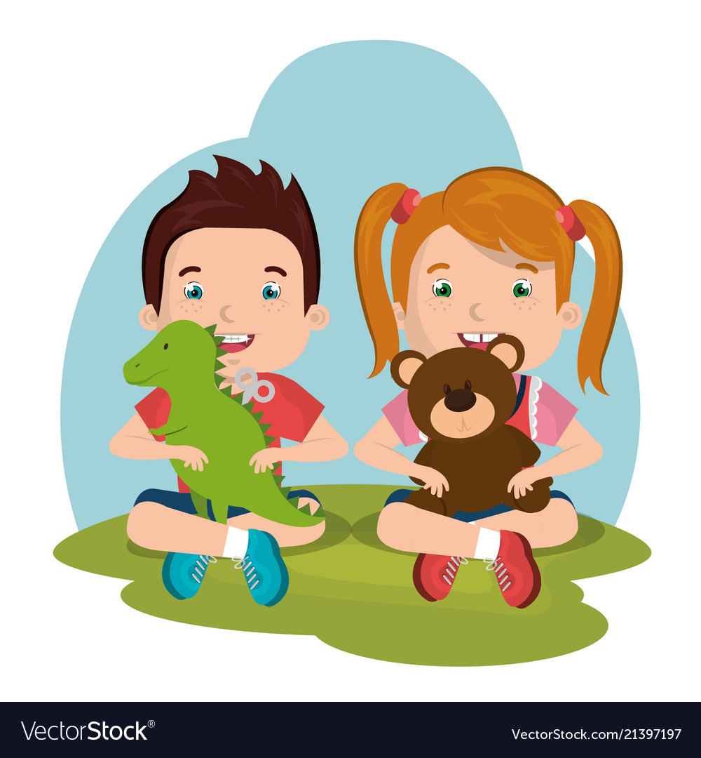Little boy and girl playing with toys characters.