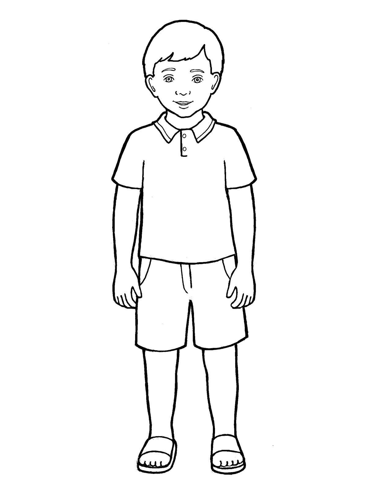 Boy Standing Clipart Black And White.