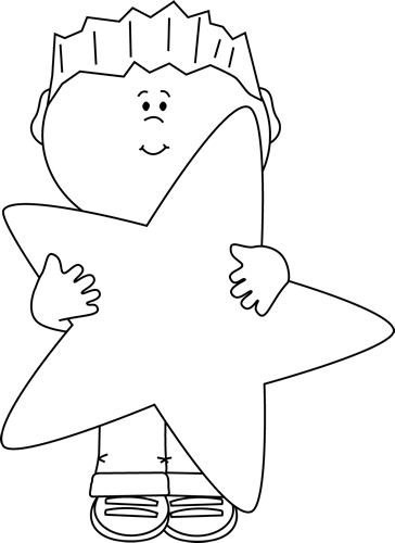 Black and White Little Boy Holding a Big Star Clip Art.