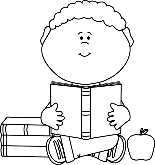 Black and White Little Boy Reading a School Book Clip Art.