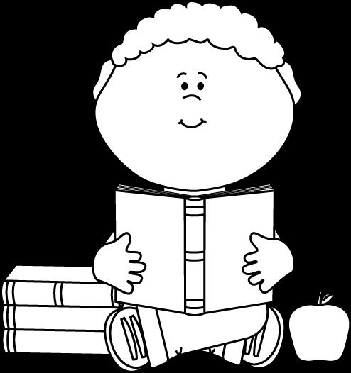 Black and White Little Boy Reading a School Book Clip Art.