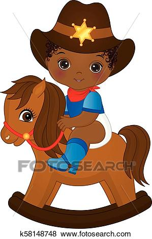 Vector Cute Little African American Baby Boy Dressed as Cowboy Clip Art.