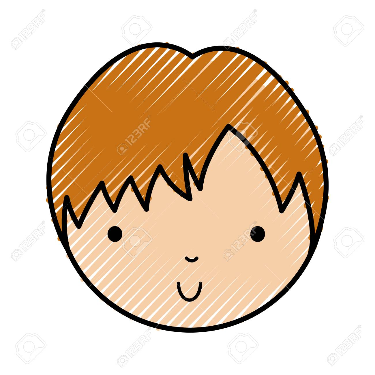 scribble cute blond little boy face vector illustration graphic...