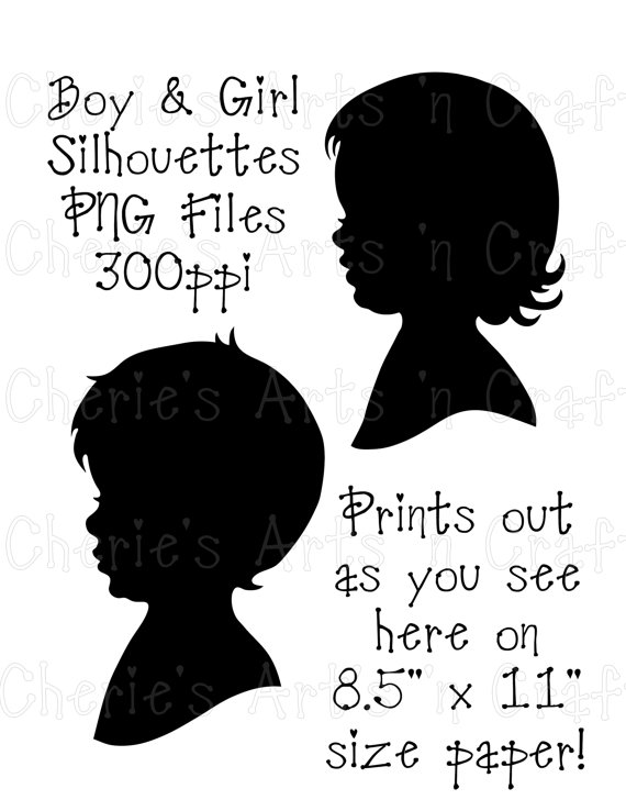 Boy and Girl Silhouettes, Instant Download, PNG Graphic, Children.