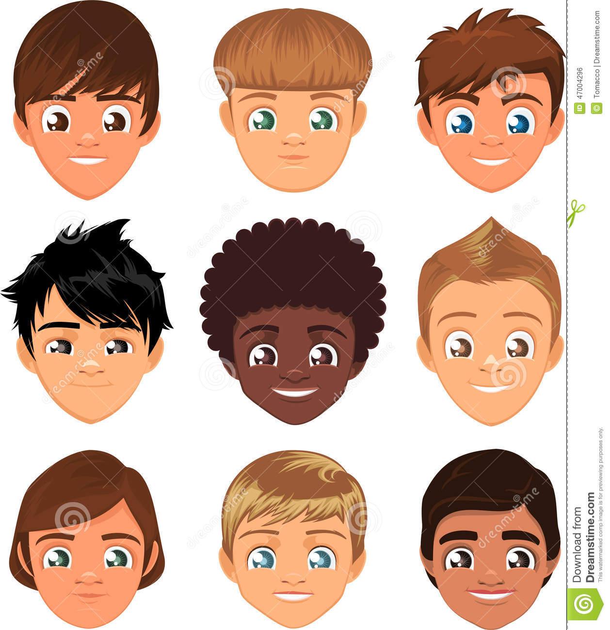 Little Boy Faces Stock Illustration.
