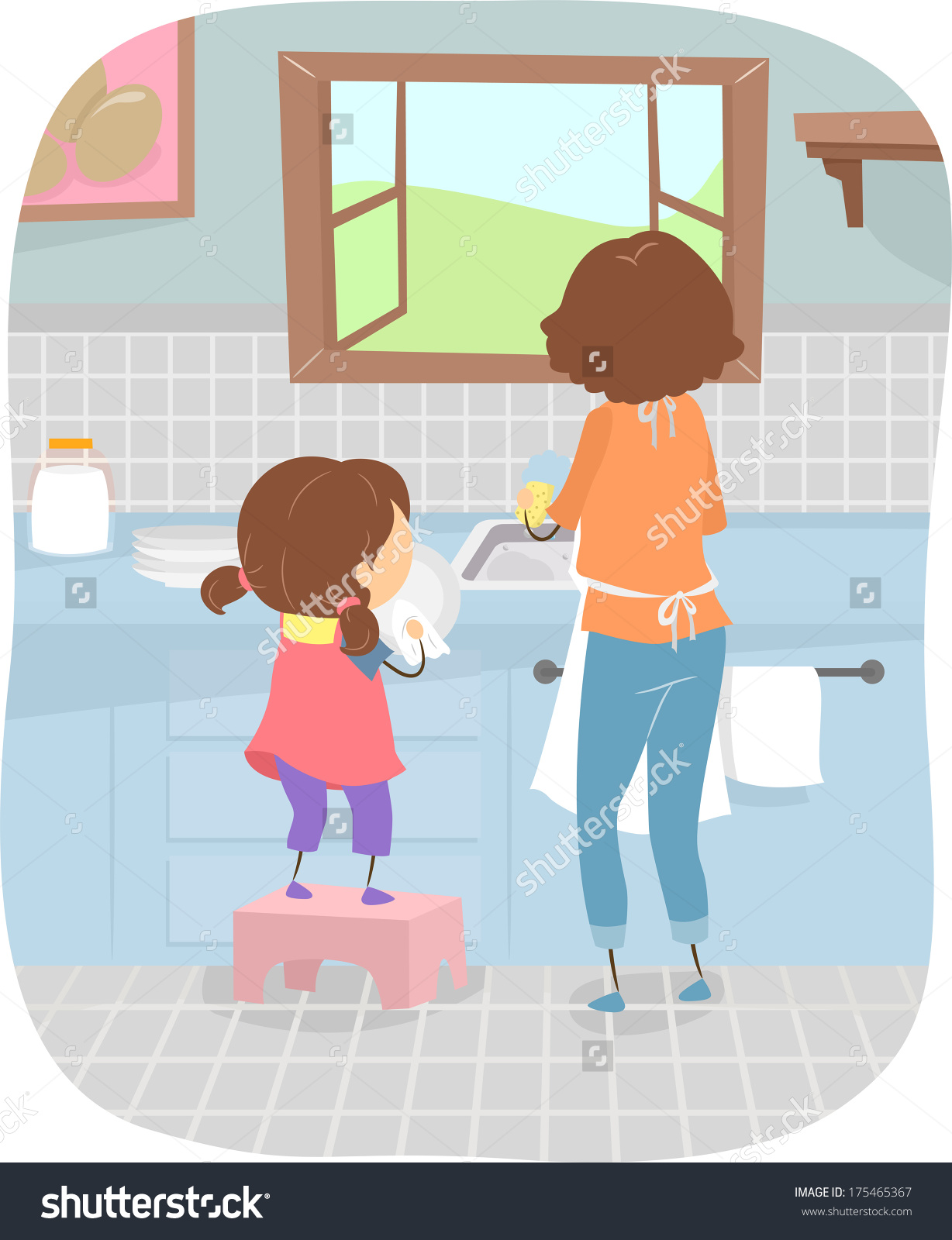 Illustration Little Girl Helping Her Mom Stock Vector 175465367.