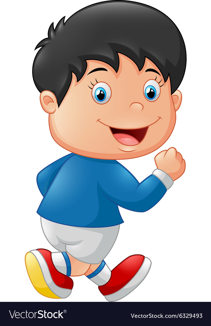 Cartoon little kid running.