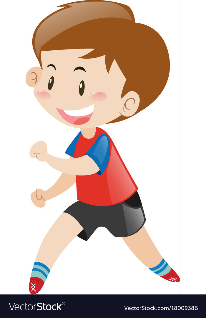 Little boy in red shirt running.
