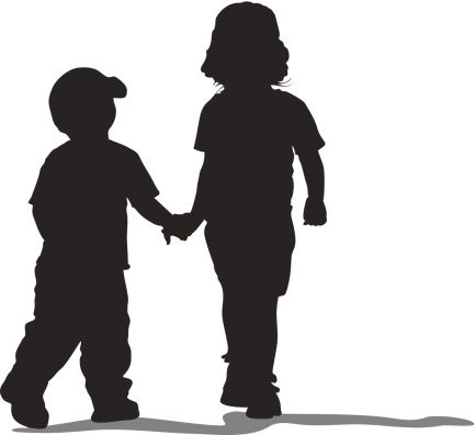Silhouette Of Cute Little Girl Boy Holding Hands Clip Art.