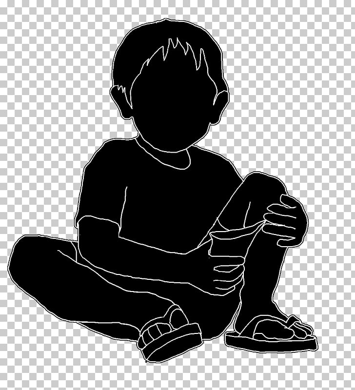 Silhouette Drawing, little boy PNG clipart.