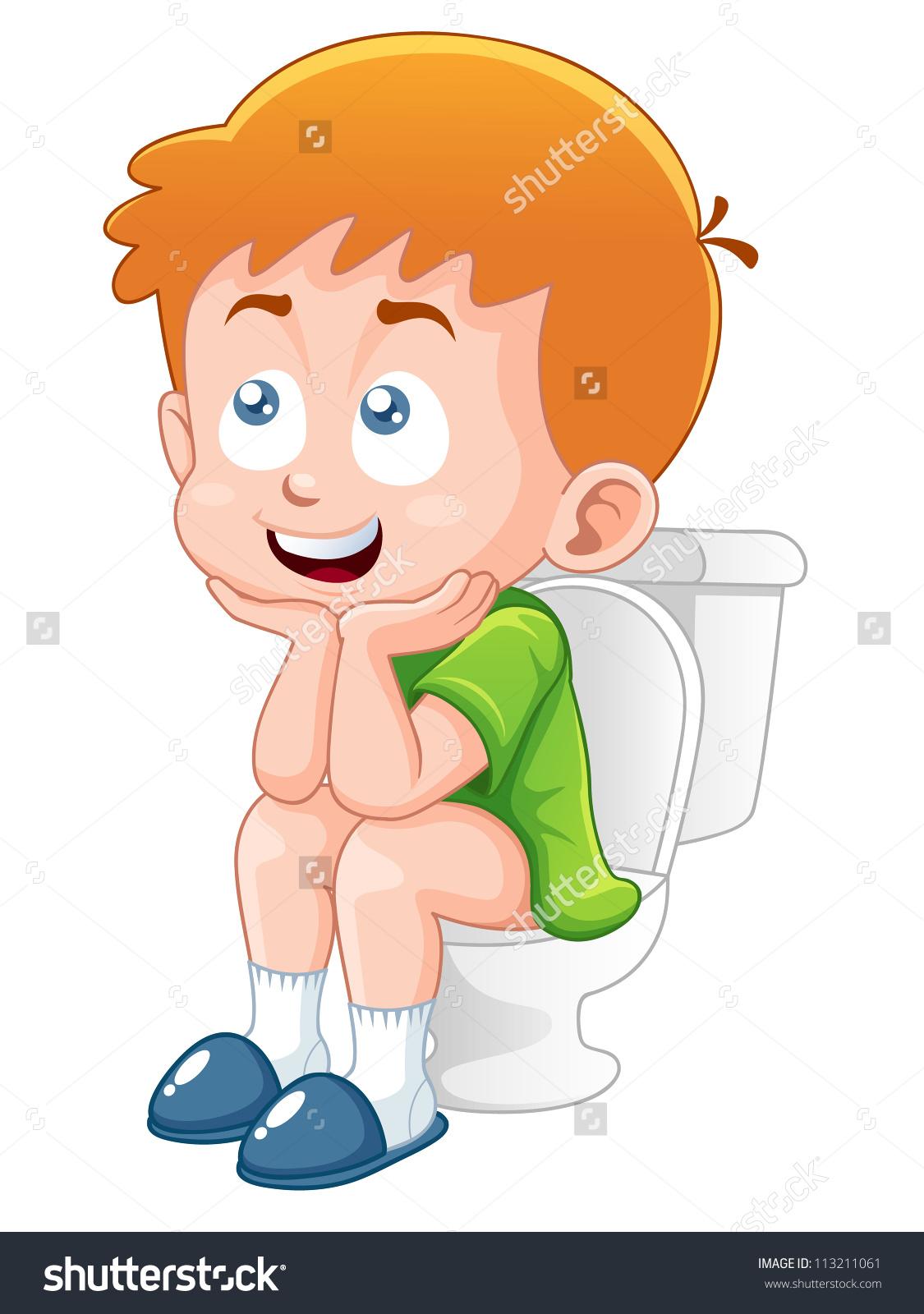 Little Boy Sitting On Toilet Stock Vector 113211061.