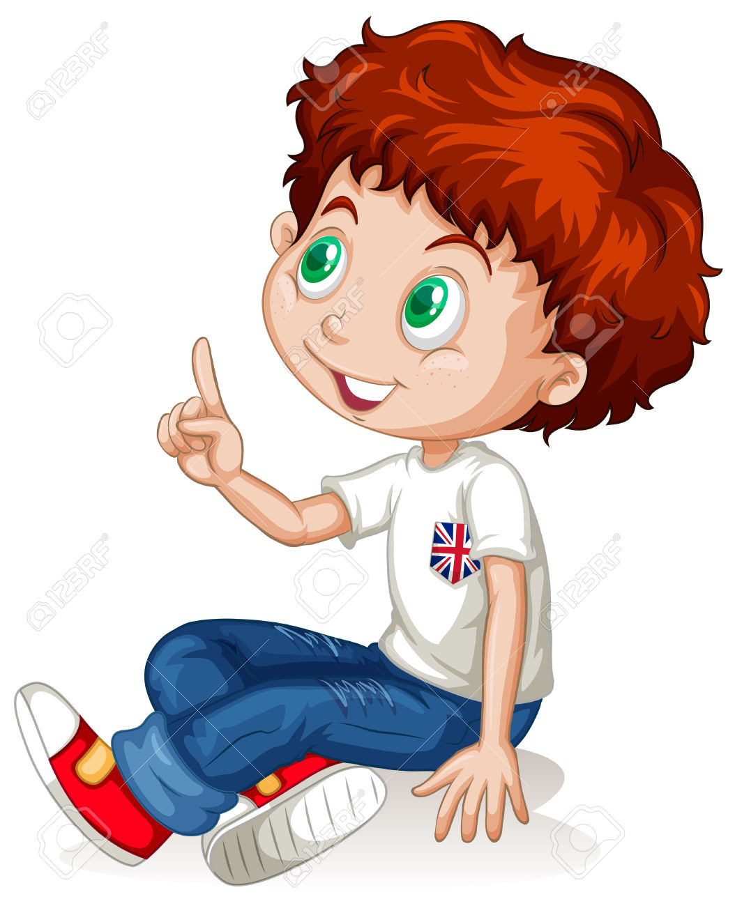 Little Boy Pointing Up Illustration Royalty Free Cliparts, Vectors.