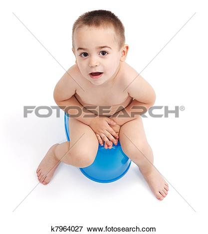 Picture of Little boy sitting on potty k7964027.