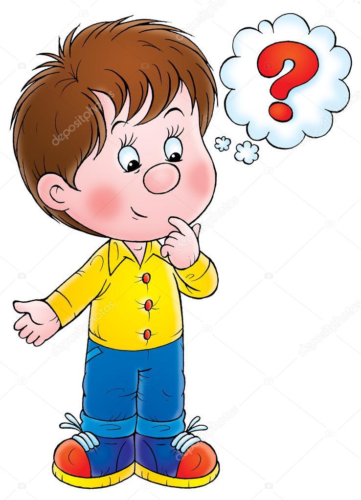 Plipart: a boy thinking.