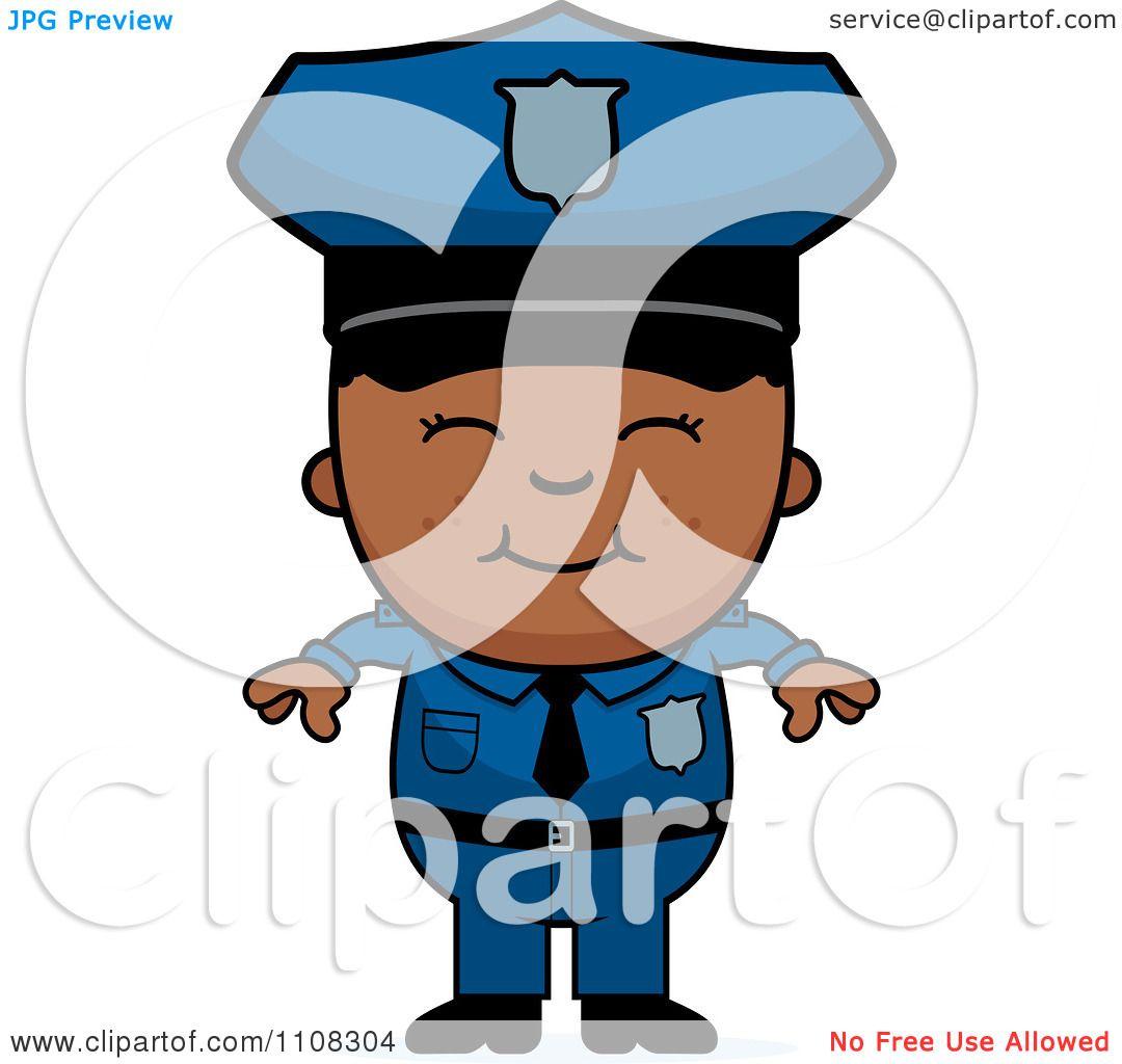 Clipart Happy Black Police Boy.