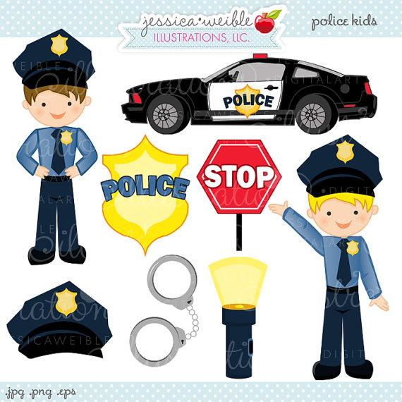 Police Kids Cute Digital Clipart.