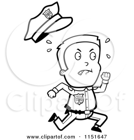 Cartoon Clipart Of A Black And White Little Police Man Running and.
