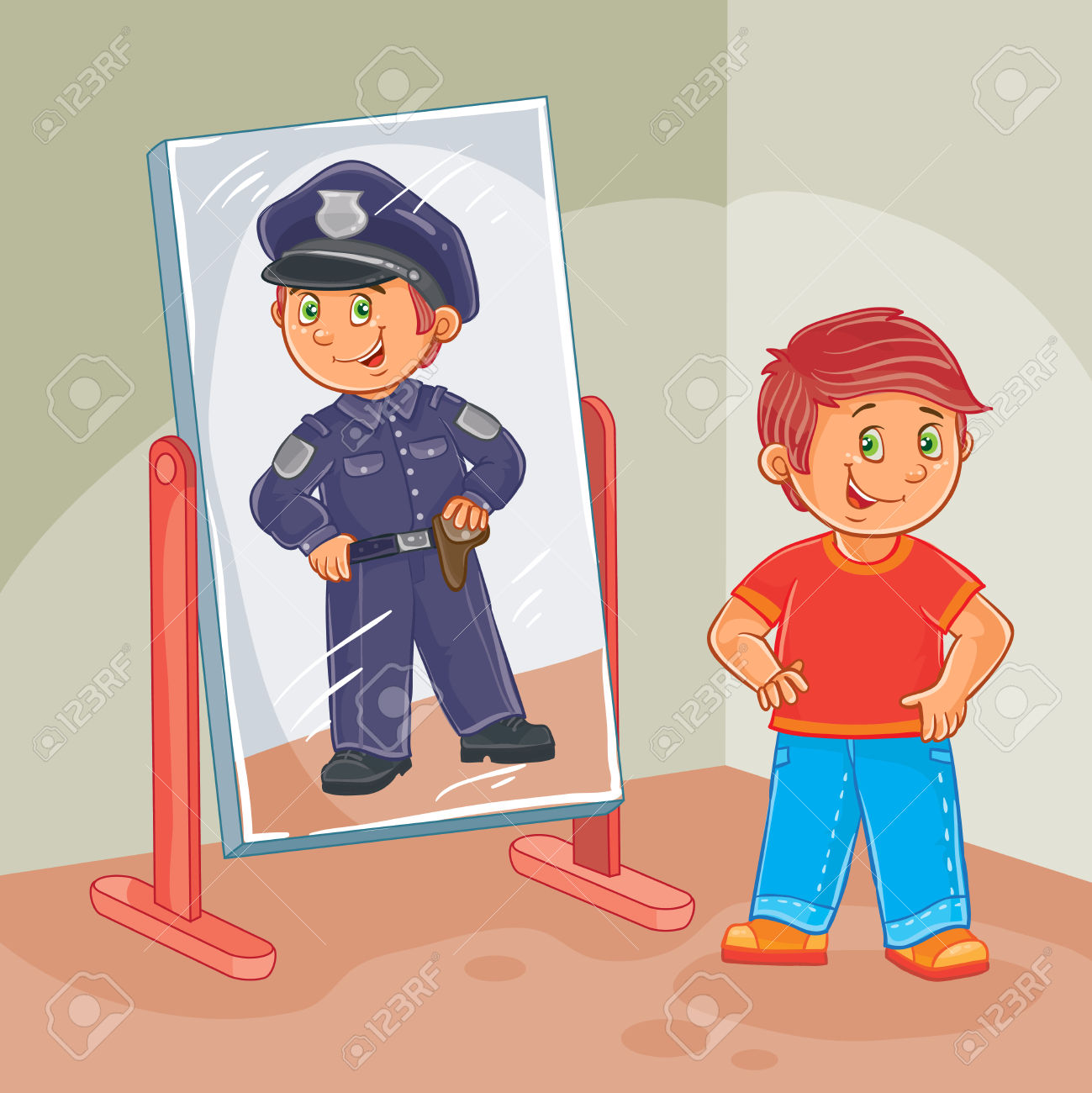Vector Illustration Of A Little Boy Dreams Of Becoming A Police.