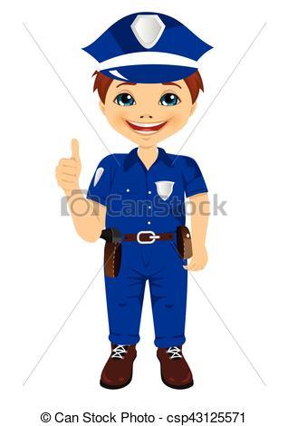 Vectors Illustration of smiling little boy wearing police uniform.