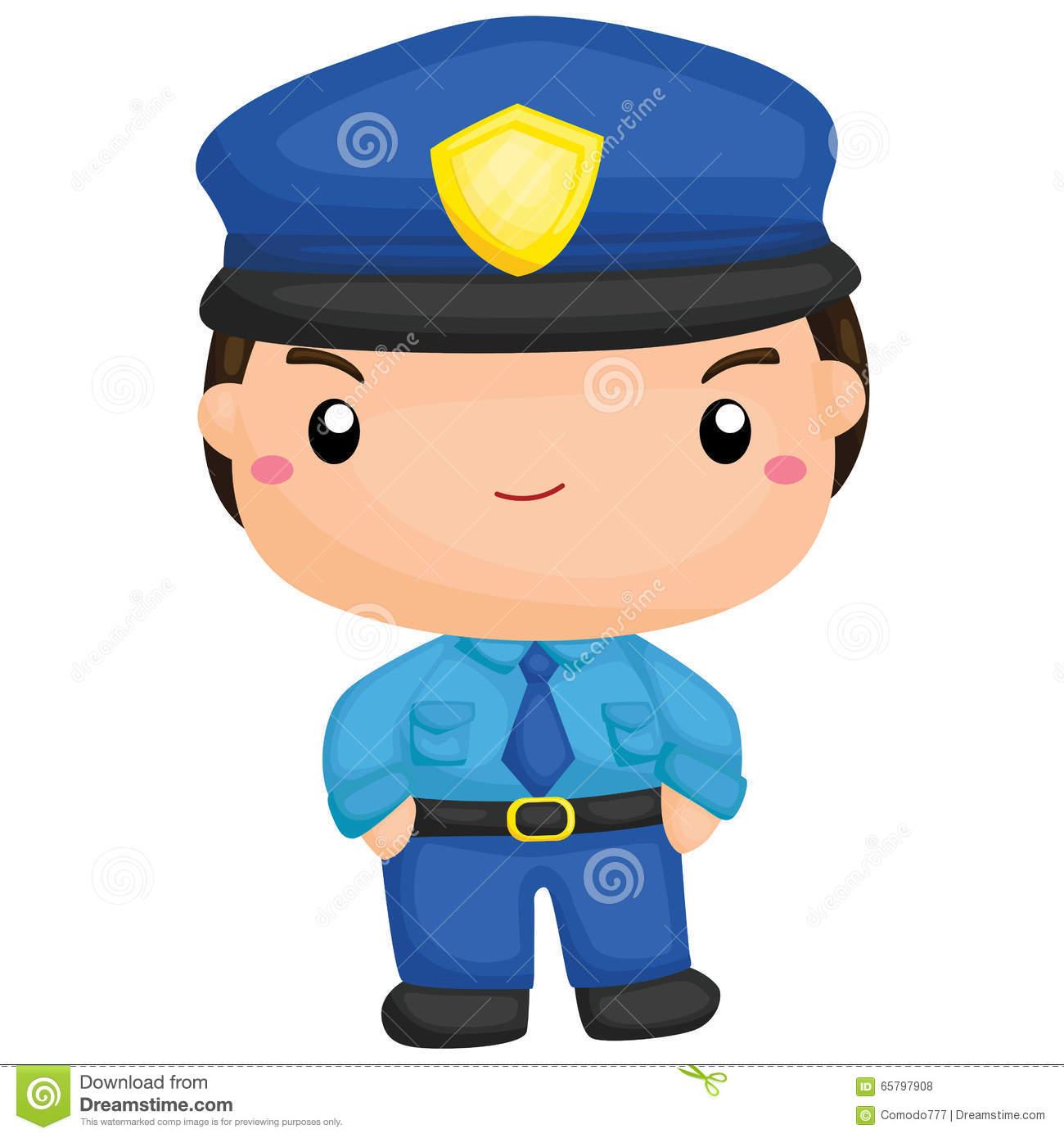 Cute Little Police Boy Stock Vector.