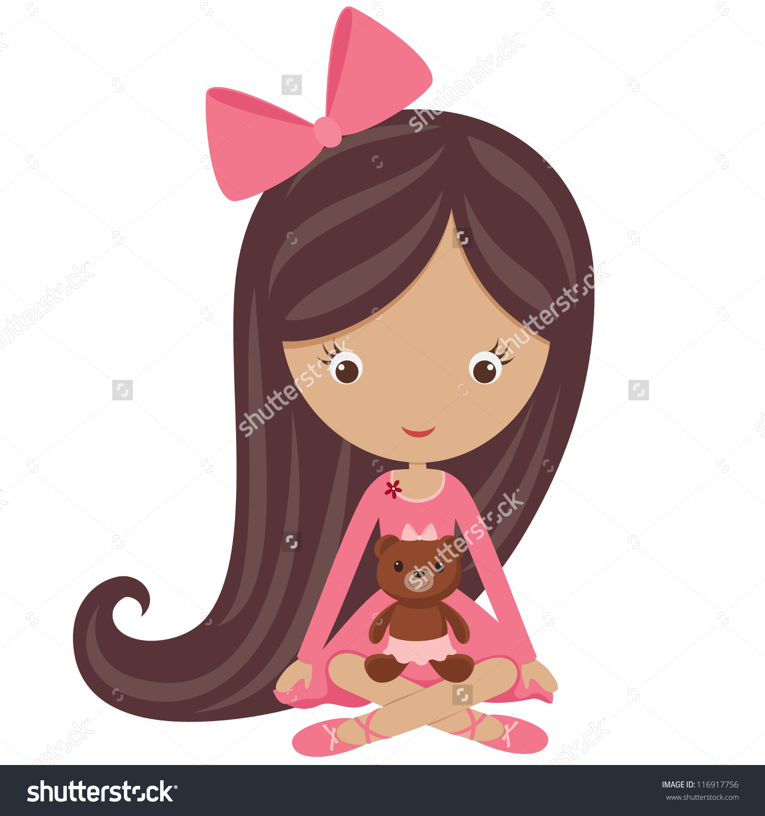 little brown haired girl clipart - Clipground