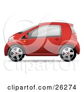 Clipart Illustration of a Cute Little Green Compact Car Resembling.