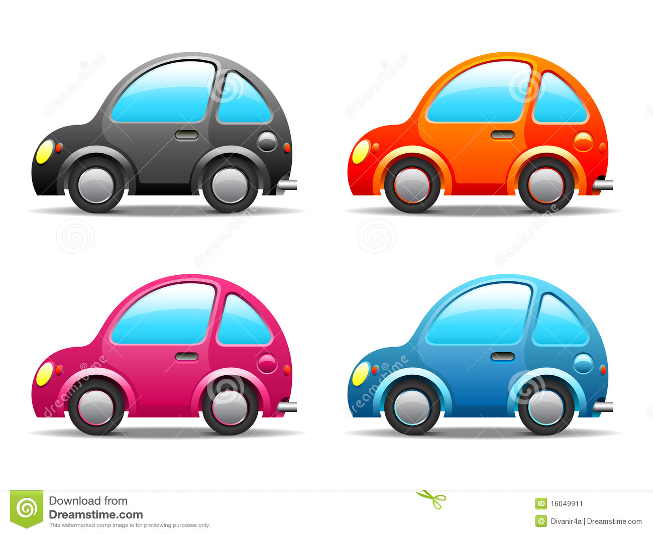 Four Funny Little Cars Stock Image.